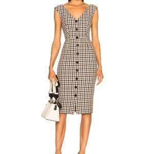 Veronica Beard Lark Check Plaid Midi Dress